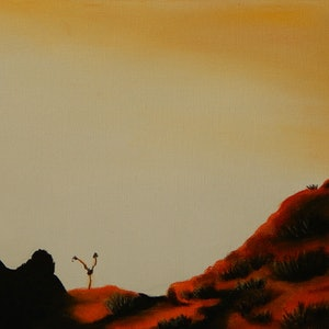 (CreativeWork) Red Hill by Doodie Herman. arcylic-painting. Shop online at Bluethumb.