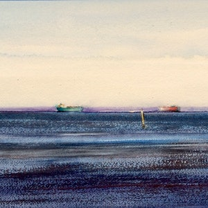 (CreativeWork) Coming and Going , Port Phillip Bay , Melbourne  by Geoff Stanistreet. watercolour. Shop online at Bluethumb.