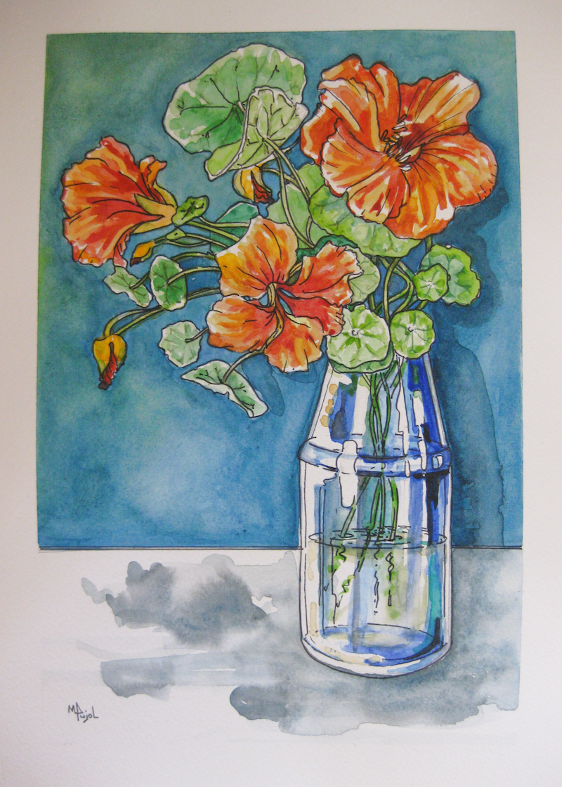 (CreativeWork) Orange Nastursiums in a blue glass vase #2 by Michelle Pujol. watercolour. Shop online at Bluethumb.