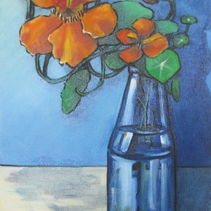 (CreativeWork) Orange Nasturtiums in a blue glass vase #1 by Michelle Pujol. oil-painting. Shop online at Bluethumb.