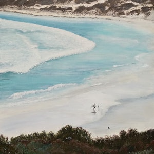 (CreativeWork) Wharton Beach WA, Father and Son by Leanne Jamieson. print. Shop online at Bluethumb.