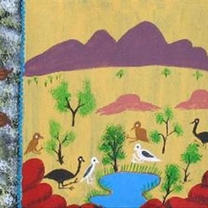 (CreativeWork) Bush Tucker Catalog no. 558-10 by Rosabelle Namatjira. arcylic-painting. Shop online at Bluethumb.