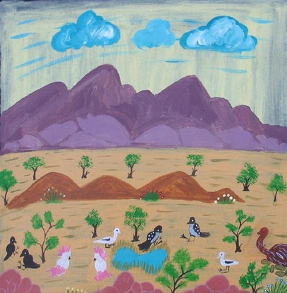 (CreativeWork) Birds around a waterhole Catalog no. 769-10 by Rosabelle Namatjira. Acrylic Paint. Shop online at Bluethumb.