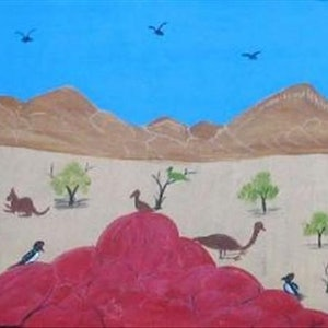 (CreativeWork) Wildlife in the West Mac Donnell Ranges Catalog no. 450-11 by Rosabelle Namatjira. acrylic-painting. Shop online at Bluethumb.