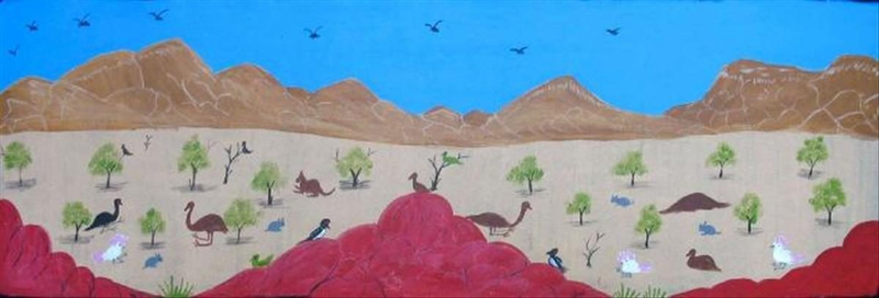 (CreativeWork) Wildlife in the West Mac Donnell Ranges Catalog no. 450-11 by Rosabelle Namatjira. Acrylic Paint. Shop online at Bluethumb.