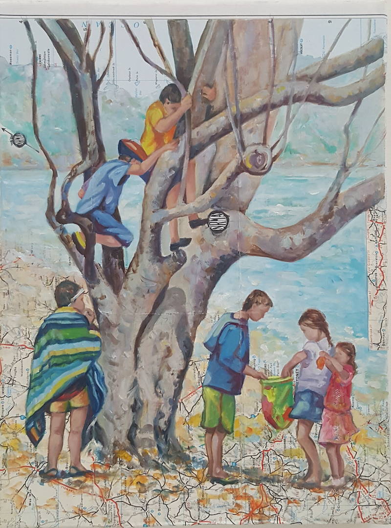 (CreativeWork) Summer Bliss - kids tree map by Sherry McCourt. oil-painting. Shop online at Bluethumb.