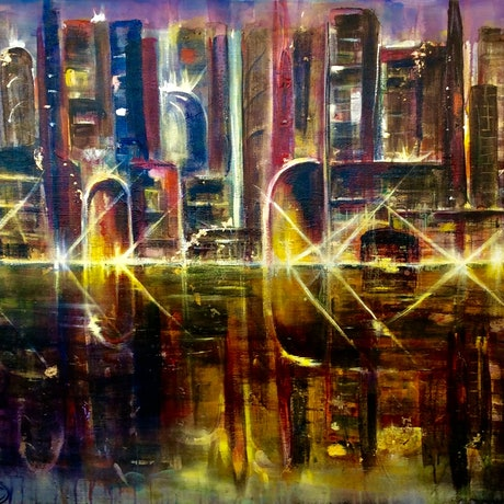 (CreativeWork) City Lights 102x76x3 by Louise Croese. Acrylic Paint. Shop online at Bluethumb.