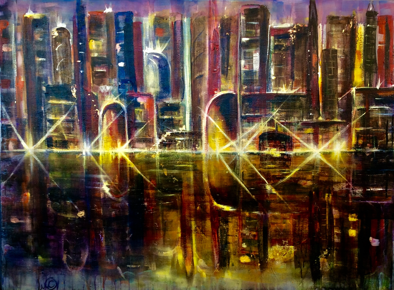 (CreativeWork) City Lights 102x76x3 by Louise Croese. arcylic-painting. Shop online at Bluethumb.