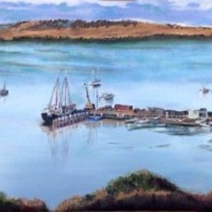 (CreativeWork) Falie, American River Wharf, Kangaroo Island by Leanne Jamieson. arcylic-painting. Shop online at Bluethumb.
