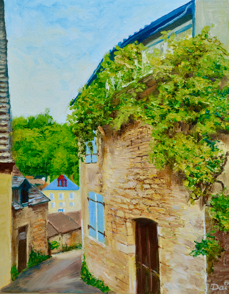 (CreativeWork) Beynac Vine, Périgord, France by Dai Wynn. oil-painting. Shop online at Bluethumb.