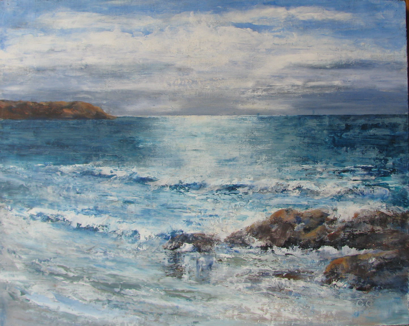 (CreativeWork) Stumpys Bay NE Tasmania by Gaye Oakes. oil-painting. Shop online at Bluethumb.
