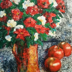 (CreativeWork) Red vase and apples by Gaye Oakes. mixed-media. Shop online at Bluethumb.