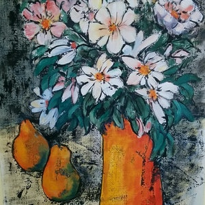 (CreativeWork) Orange vase and pears by Gaye Oakes. mixed-media. Shop online at Bluethumb.