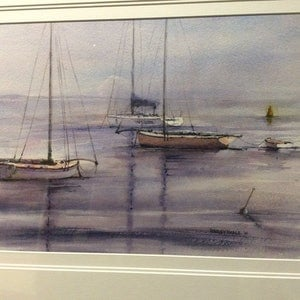 (CreativeWork) Portsea Couta Boats by Harvey Neale. watercolour. Shop online at Bluethumb.