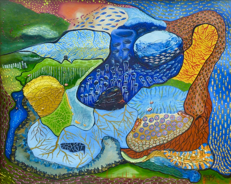 (CreativeWork) Reef by Tom Koch. oil-painting. Shop online at Bluethumb.