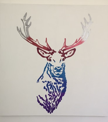 (CreativeWork) Stag by Deb Krinas. Acrylic Paint. Shop online at Bluethumb.