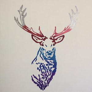 (CreativeWork) Stag by Deb Krinas. arcylic-painting. Shop online at Bluethumb.