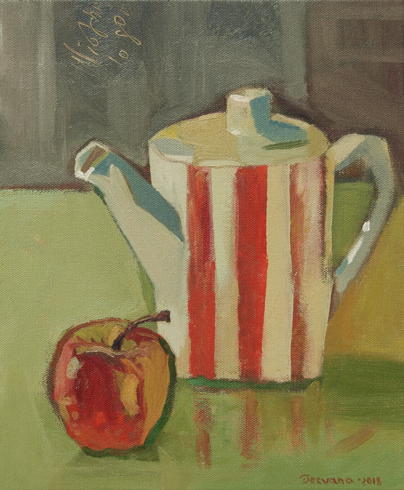 (CreativeWork) Still Life with Striped Teapot by Tetyana Khytko. oil-painting. Shop online at Bluethumb.