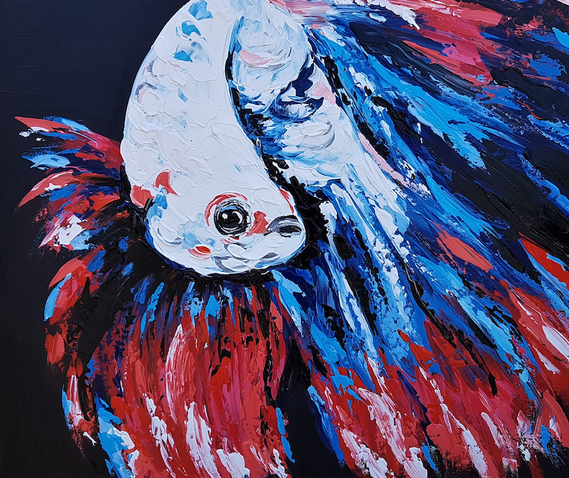 (CreativeWork) Siamese Fighting Fish - Betta Splendens by Lisa Fahey. arcylic-painting. Shop online at Bluethumb.