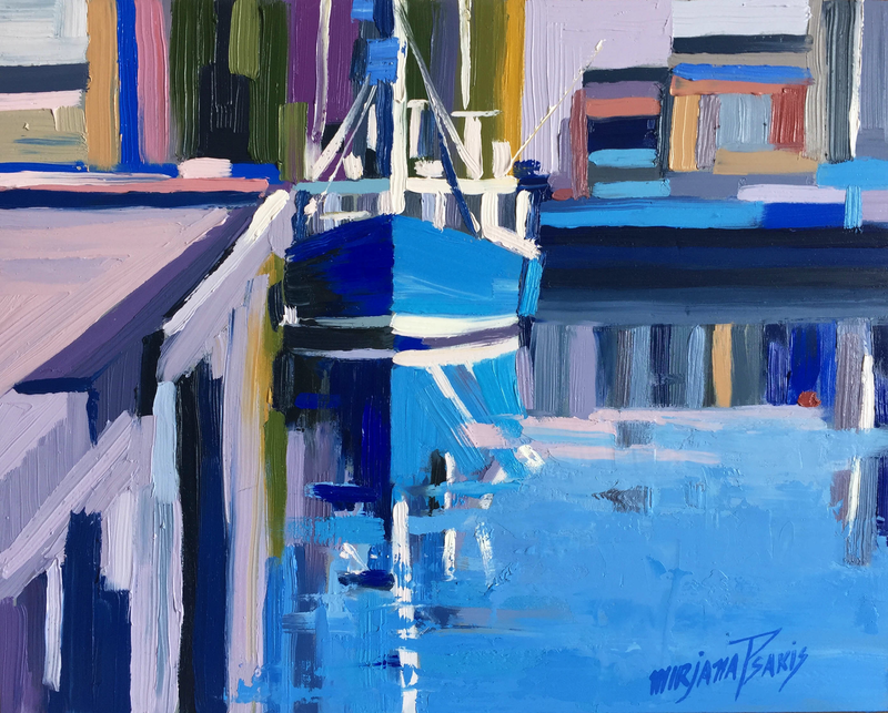 (CreativeWork) Hobart Harbour by Mirjana Psakis. Oil Paint. Shop online at Bluethumb.