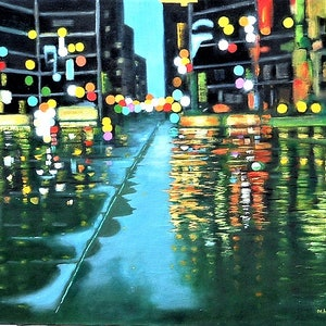 (CreativeWork) City Lights by John and Michele Hinves. oil-painting. Shop online at Bluethumb.