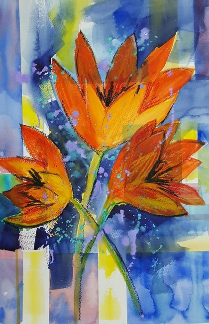 (CreativeWork) Complimentary by Marion Hughes. watercolour. Shop online at Bluethumb.