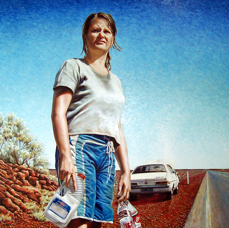 (CreativeWork) Mel in the Middle by Chris Hall. oil-painting. Shop online at Bluethumb.