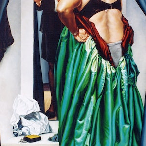 (CreativeWork) The Green Dress by Chris Hall. arcylic-painting. Shop online at Bluethumb.