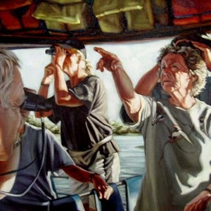 (CreativeWork) The Birdwatchers by Chris Hall. oil-painting. Shop online at Bluethumb.