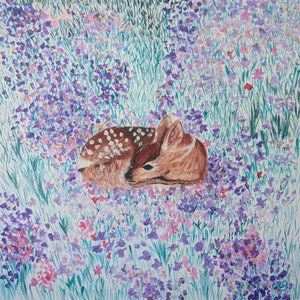 (CreativeWork) Fawn in the Flower Field No#1 by Cara Renee Binding. arcylic-painting. Shop online at Bluethumb.