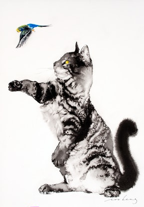 (CreativeWork) Let's Play Cat by Soo Beng Lim. Drawings. Shop online at Bluethumb.