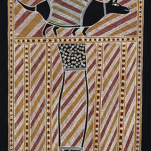 (CreativeWork) Dog dreaming at Ngaliyindi by Johnny Warrkatja. arcylic-painting. Shop online at Bluethumb.