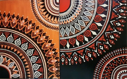 (CreativeWork) Ethnic Pattern Mural by Shoma Anand. arcylic-painting. Shop online at Bluethumb.