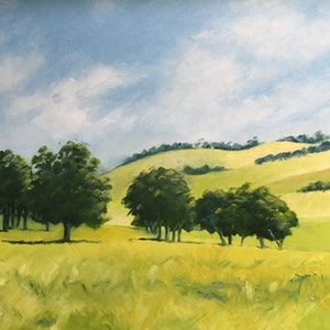 (CreativeWork) Lysterfield 2 by Carolynne Mcintyre. oil-painting. Shop online at Bluethumb.
