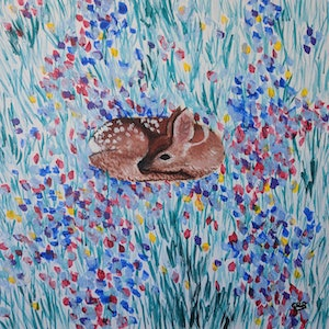 (CreativeWork) Fawn in the Flower Field No#2 by Cara Renee Binding. arcylic-painting. Shop online at Bluethumb.