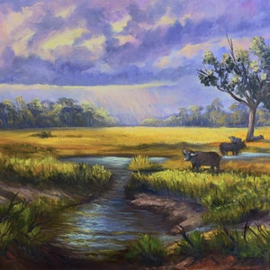 (CreativeWork) Moody afternoon on the wetlands, Northern Territory Oil on Belgian linen by Christopher Vidal. oil-painting. Shop online at Bluethumb.
