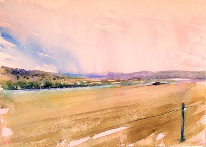 (CreativeWork) Escarpment , Horsham ,Western Victoria  by Geoff Stanistreet. watercolour. Shop online at Bluethumb.