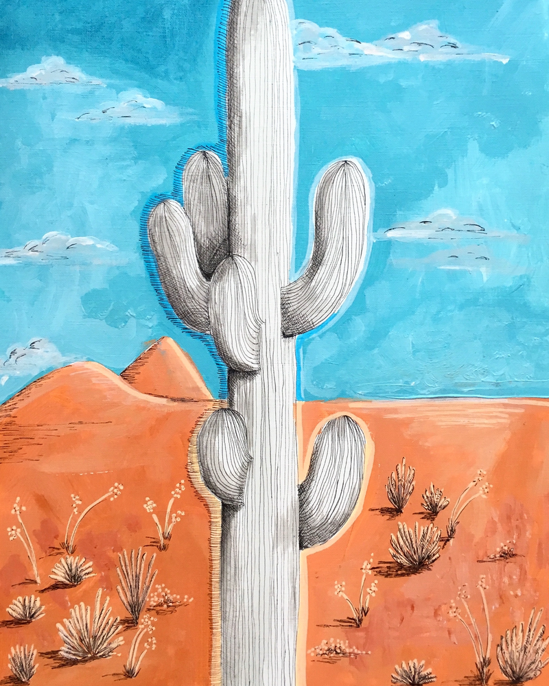 (CreativeWork) Deserted Cactus by Adelin Hill. arcylic-painting. Shop online at Bluethumb.