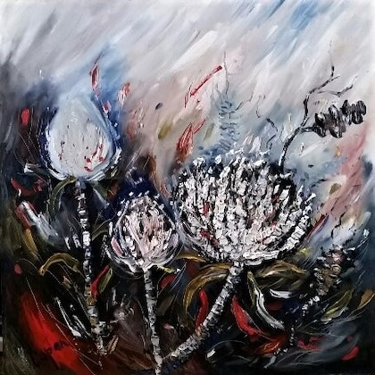 (CreativeWork) Wild Banksia & Waratahs by Susan Capan. oil-painting. Shop online at Bluethumb.