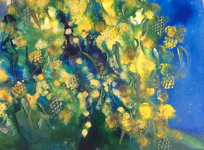 (CreativeWork) Golden Wattle  by Deb Brown. arcylic-painting. Shop online at Bluethumb.