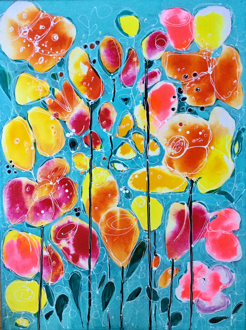 (CreativeWork) Bright Happy Flowers by Vanessa Black. arcylic-painting. Shop online at Bluethumb.