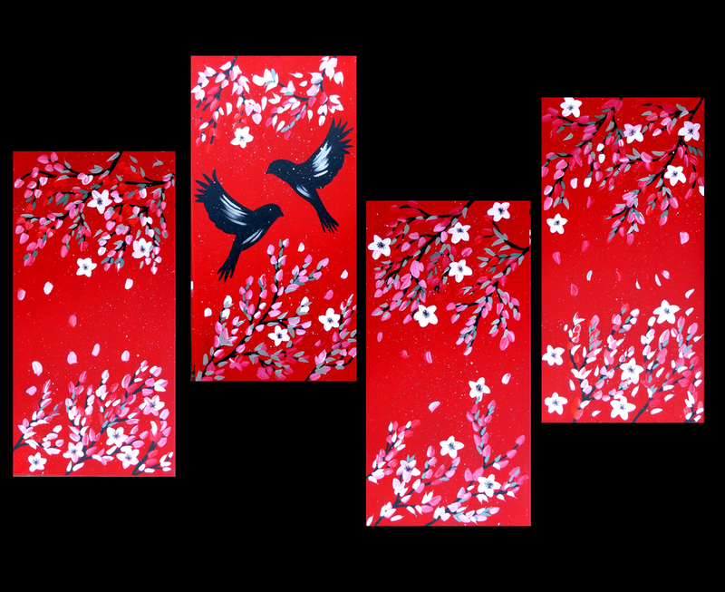 (CreativeWork) Red and Black Cherry Blossoms by Cathy Jacobs. arcylic-painting. Shop online at Bluethumb.