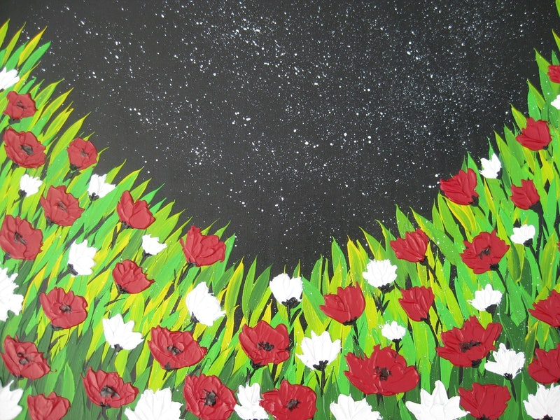 Poppies with textured flowers
