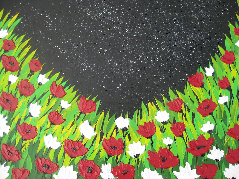 (CreativeWork) Poppies with textured flowers by Cathy Jacobs. arcylic-painting. Shop online at Bluethumb.