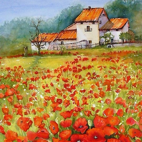 (CreativeWork) Farm house and poppy field by Jean Parker. Watercolour Paint. Shop online at Bluethumb.