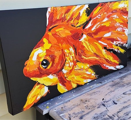 (CreativeWork) Goldfish by Lisa Fahey. Acrylic Paint. Shop online at Bluethumb.