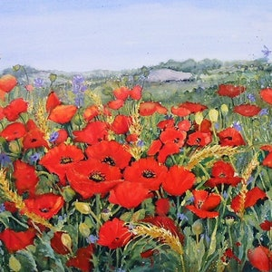 (CreativeWork) Poppy Fields  by Jean Parker. watercolour. Shop online at Bluethumb.
