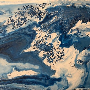 (CreativeWork) Mountain Seas by Jenn Woodford. arcylic-painting. Shop online at Bluethumb.
