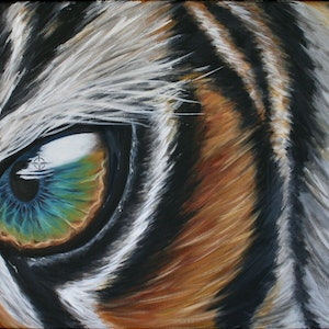 (CreativeWork) Inaction - Tiger by Emily Monnington. arcylic-painting. Shop online at Bluethumb.