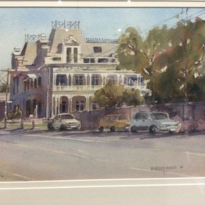 (CreativeWork) Beaumaris Hotel by Harvey Neale. watercolour. Shop online at Bluethumb.